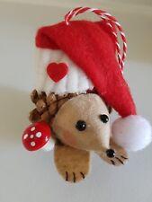 1 Erizo hecho a mano decoración de Navidad de Abeto Cono Matamoscas. recubierto. Sombrero. 9x6x8cm