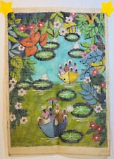 "Amazon River Scene Needlepoint Canvas Hand Painted Brazil 10 Ct 25.5"" x 18.5"""