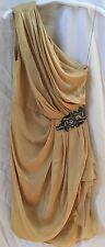 J. Mendel Gold Silk Drape Gathered Dress With Jewel Embellishments~Size 4~USA