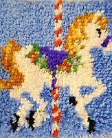 VINTAGE LATCH HOOK RUG -CAROUSEL HORSE  COMPLETED - Just SEW & Bind