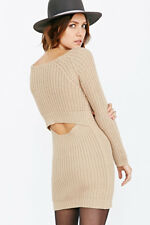 Silence + Noise Urban Outfitters Camel Natural Surplice-back Sweater Dress Small