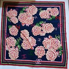 "LARGE CHANEL CC LOGO CAMELLIAS PRINT MULTI-COLOR 100% SILK  SCARF 50"" -50"""