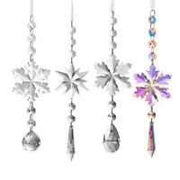 Crystal Snowflake Suncatcher Hanging Prism Pendant Ornament Window Xmas Decor