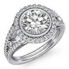 2.3ct Round Diamond Halo Prong Bezel Engagement Ring GIA F VS2 14k White Gold