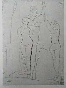 MARINO MARINI - Figuren und Pferd. Original-Radierung