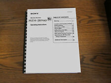 Sony MDS-JB940 mini disc recorder operating instructions user owner manual