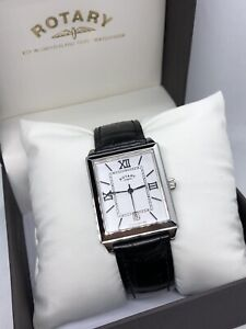 Mens Rotary Rectangular Dial Roman Numerals  Date Watch GS03875/21 RRP £188