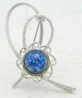 VTG Silver Tone Blue Confetti Glass Cabochon Pin Brooch