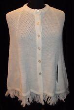 Vtg Jc Penney Woven Crochet Knit Cape Poncho White Arm Slots 12 16 Acrylic Retro