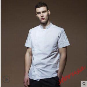Mens Summer Chef Workwear Kitchen Coat Pastry Cook Short Sleeve Uniform Jackets