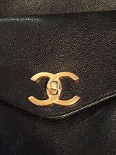CHANEL Caviar Skin Chain Shoulder Tote Bag Black