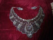 "Beaded Gypsy Belly Dance Skirt Sash Side Tie Hip Belt Wrap Turkish Silver 50"""