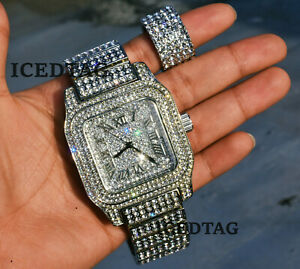 ICED BLING-ED OUT WH. GOLD PT LAB DIAMOND HEAVY WATCH, 5 ROW ROUND STUD RING SET