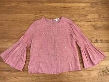 New Beach Lunch Lounge Collection pink pearl blouse top sz XL Bell sleeve