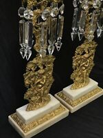 Antique Vtg Ornate Marble Gilded Candle Stick Pair Crystal Prisms Italy? French?