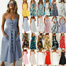 Womens Summer Party Button Through Ladies Long Smock Midi Sundress