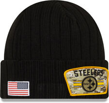 Pittsburgh Steelers New Era NFL 2021 Salut Pour Service Tricot Bonnet Noir