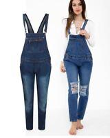 Ladies Women Knee Ripped Stretch Denim Dungaree Jeans Trouser Dress 8 10 12 14