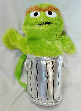 Sesame Street Oscar the Grouch Plush Back Pack Animations Stuffed Green Silver