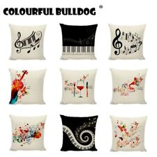 Fashion Music Series Cushion Covers Creative Piano Guitar Pattern Printed Couch