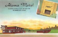 ALOMA MOTEL Heber City, Utah Roadside c1940s Linen Vintage Postcard