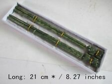 "Chinese 100% natural color jade sculpted ""Kirin"" two pairs of chopsticks NR"