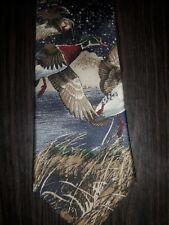 417 by Van Heusen Water Fowl Flying Ducks in the Marsh Men's Silk Necktie Tie