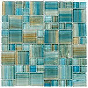 Modern French Pattern Aquamarine Glossy Glass Mosaic Backsplash Tile MTO0091