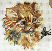 """Bucilla Counted Cross Stitch Kit 42003 Picture Purrfect Kitten Cat  5"""" x 5"""" NWT"""