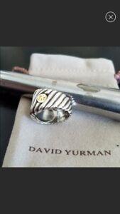 David Yurman Sterling Silver &18K Gold Wide Cigar Band Ring Sz 10  in EUC + Bag