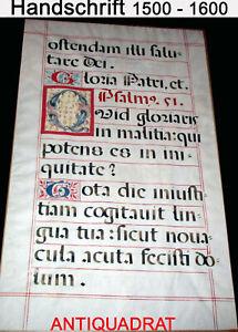 77,5 x 49 cm Blatt Antiphonar 16. Jh., Pergament Psalm Initialien Handschrift