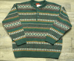 Vintage Gymboree Boys Sweater Holiday Green Stripe NWT Wool Size 5-6 XL