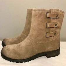 New Naturalizer Tynner Ankle Boot Womens 9.5 Taupe Suede Leather Side Zip $159