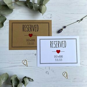 Rustic Heart Reserved Seating Cards (x10) / Wedding Name Signs / Colour Choice