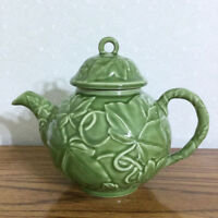 Franciscan Teapot Embossed NEW Green Leaf 3D Ivy Earthenware Holiday