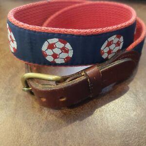 Red Soccer Balls Boy's  Leather Canvas Belt Size 24 Navy Blue background