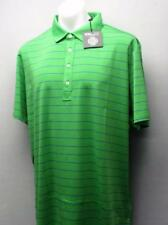 New Mens Ralph Lauren RLX Green Blue striped  polyester golf polo shirt Medium