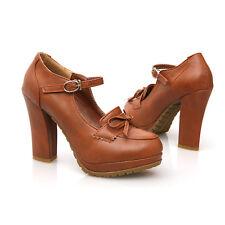 Lolita Womens Bowknot Mary Janes Lolita Shoes Buckle Strap Platform High Heels