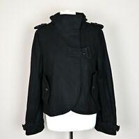 Womens CRIMINAL Wool blend Jacket Size LARGE Short coat Black asymmetrical UK 16