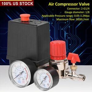 Air Compressor Valve Manifold Gauges Regulator 90-120PSI Pressure Control Switch