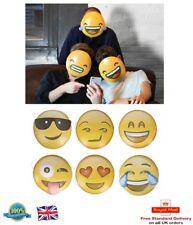 6 x EMOJI MASKS KIDS ADULTS Smiley Icon Face Mask Party Fun Photo Shoot Masks