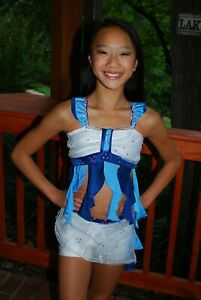 Blue and white custom competition lyrical  dance costume CS CS/M CM 4 available