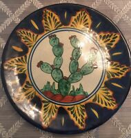 """VINTAGE MEXICAN POTTERY DINNER PLATE 11"""" CHARGER SIGNED"""