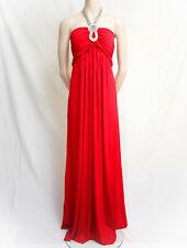 RED NECKSTRAP STRAPLESS EVENING DRESS SILVER CHAIN NECK STRAP BY DRESS190 18/20