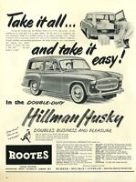 1955 Roots PRINT AD Hillman Husky Great Vintage Decor for Garage or man cave