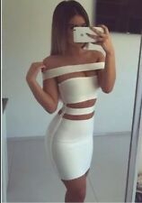 New Bandage Celebrity Style Strap Off Bodycone Sexy Womens Dress White Cut Out