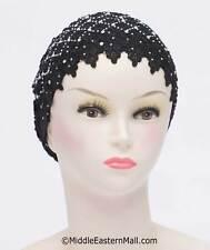 USA Seller TURBAN, CHEMO CANCER HAT, HEAD-Wear Lace Snood Cap # 5 Black