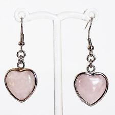 Semi-Precious Silver Heart Stone Earrings - Pink Rose Quartz