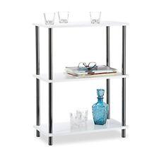 Relaxdays mesa auxiliar moderna con 3 niveles madera y acero inoxidable bla...