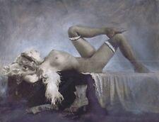 "Hendrickson Original Photo B&W w/PASTELS Reclining NUDE WOMAN ON COUCH 13x10"""